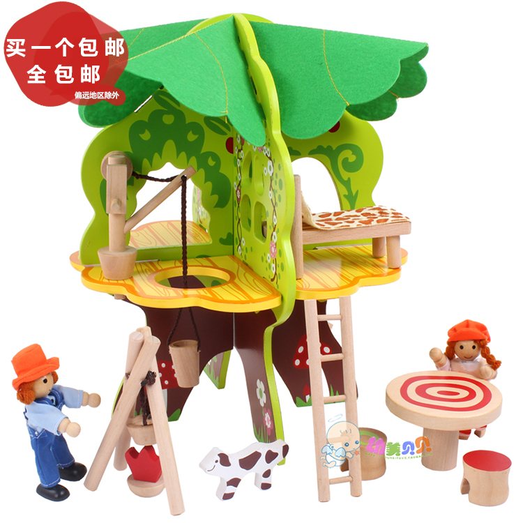 ФОТО 3D Children's Wooden Villa Toys DIY Tree House Disassembled Assembled Model Educational Toys DIY Scene Play House Game