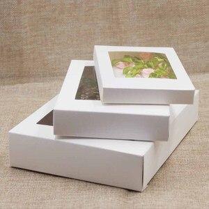 Image 3 - 20 piezas caja de papel con ventana para manualidades, embalaje de pastel Blanco/Negro/Caja de Regalo de Papel kraft para boda, fiesta en casa envases para muffins