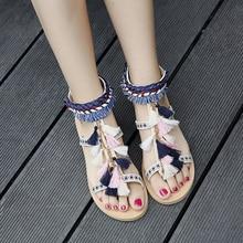 2017 Women Boho Multicolored Pom Pom Sandals Flat Heel Rubber Sole Ethnic Fringe Tassel Leather Sandalias Con Pompones Shoes