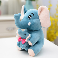 big plush elephant toy soft blue mother&baby elephant gift doll about 40cm 2645