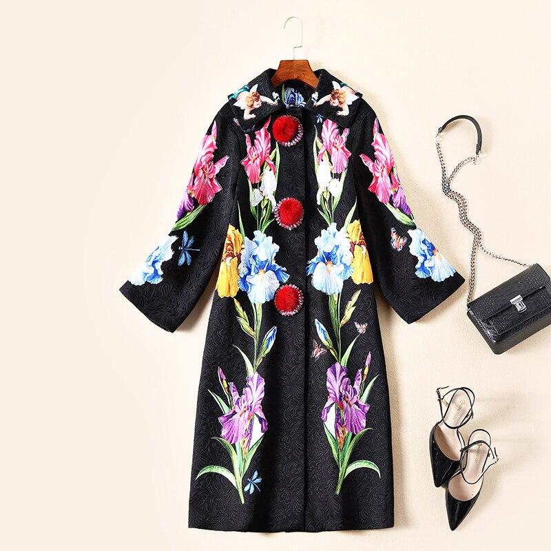 Noir Femelle Automne Long Tranchée Imprimé Pour Unique Survêtement Poitrine Floral Femmes Hiver Vintage 2019 Manteau PwnOk0