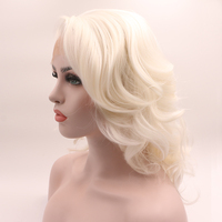 Fantasy Beauty Short White Platinum Blonde Heat Resistant Hair Blonde Synthetic Lace Front Wig For Women Side Part