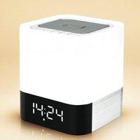 נייד 4 ב 1 Wireless Bluetooth רמקול עם חיישן מגע Led מנורת אור שעון מעורר כרטיס TF נגן MP3 AUX שיחה ללא ידיים