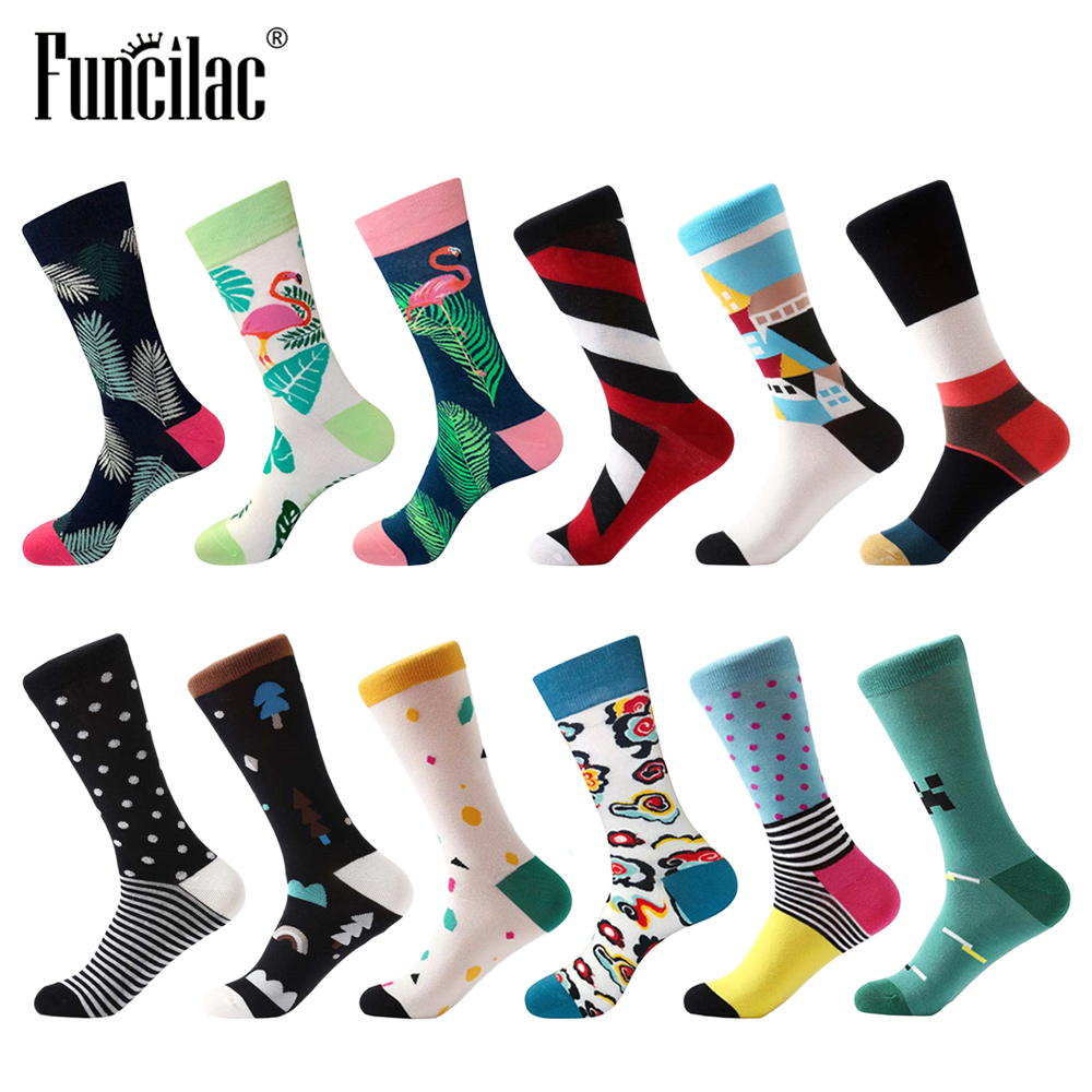 FUNCILAC Men Socks Colorful Cotton Socks Harajuku Hip hop Calcetines Marvel Meia