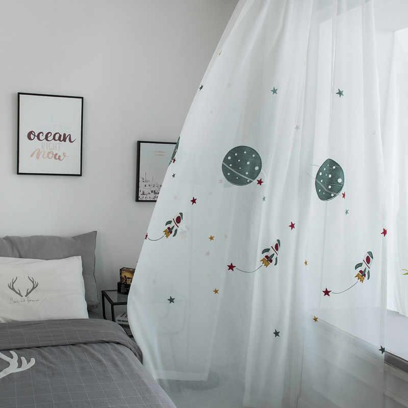 Затемненная занавеска с рисунком космоса для мальчиков, детская спальня, вышитая Роскошная ткань, тюль для гостиной WP020D3