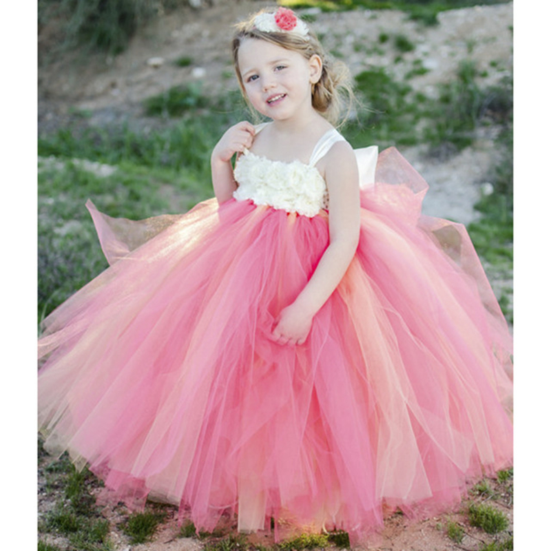 Coral & Ivory Flower Girl Dress with ivory shabby flowers Young Girls Birthday Party Tutu Dresses girls clothes for Big girl dress white mix ivory floor length flower girl tutu dress girls clothes for wedding birthday party
