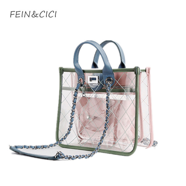 27415f14fc transparent totes bag clear pvc plastic quilted beach bags chains handbag  women summer bags 2018 luxury brand fashion