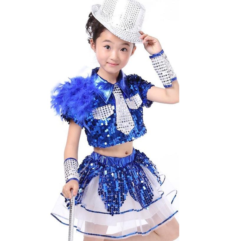 Girl Blue Dance Sequin Jazz Dance Costume Children Girls Jazz Dance Performance Shirt Skirt Hip Hop New Kid Girl Jazz Dancewear