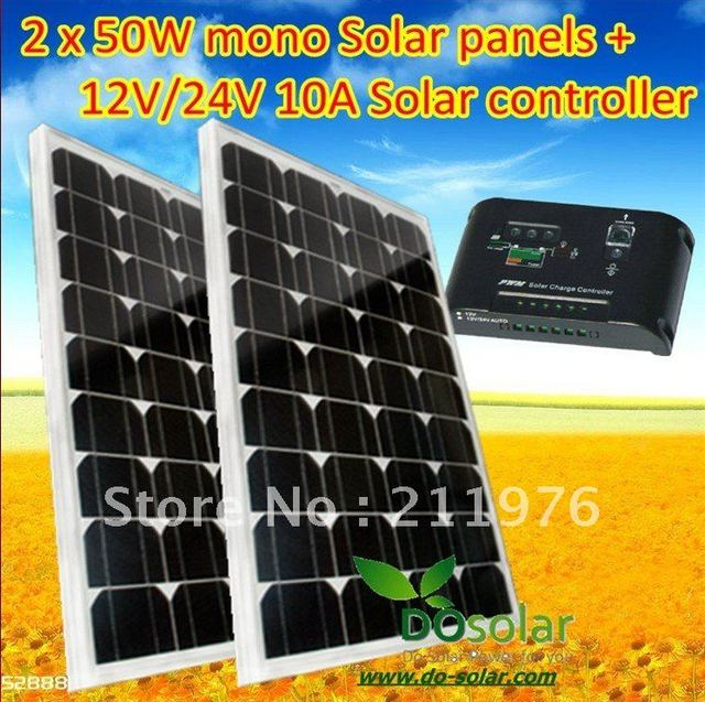 2 PCS x 50W Solar panel + 1 PCS x 10A Solar controller,  total 100W solar panel kits charging for 12V or 24V car battery