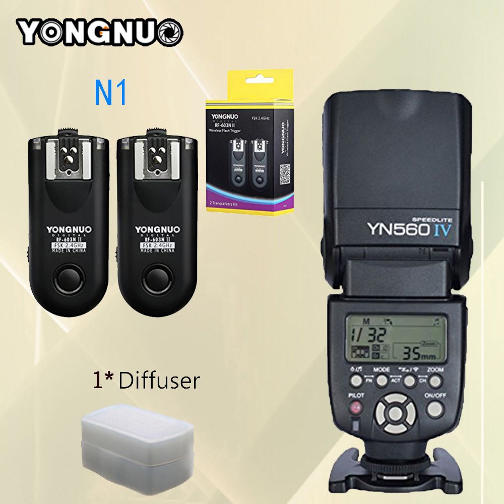 For Nikon D800 D700 D300 DSLR Camera Flash YONGNUO YN560-IV YN560 IV YN560IV Speedlite + RF-603 II N1 RF603 II Flash Trigger yongnuo yn560 iv master radio flash speedlite rf 603 ii flash trigger for canon pentax olympus