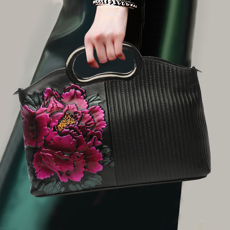 Nation Style Lady Noble Handbag Genuine Leather Top Leather Flower Pattern Fashion Top-handle Bag Banquet Crossbody Shoulder Bag fashion relief rose flower pattern handbag pu leather genuine leather zipper ring top handle bag lady party shoulder bags gifts