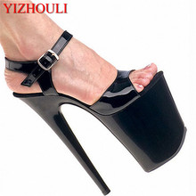 Shoes 8 inch Pointed Stiletto high heels Open Toe womens Shoes 20cm high-heeled sandals platform dance shoes