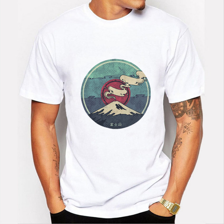2016 mais recente estilo Japão Monte Fuji t-shirt dos homens do verão curto manga imprimir camiseta para mens casual Hipster tshirt O Pescoço homme