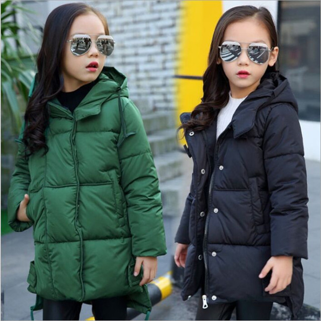 2018 Winter New Girls Winter Coat Thick Cotton  Fashion Hooded Long Coat Girls Winter  Outerwear & Coats Tide