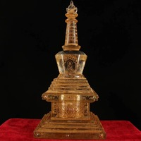 Traditional Old tibetan crystal handmade carving buddhism Relic buddha tower/Buddhist temple decoration tower