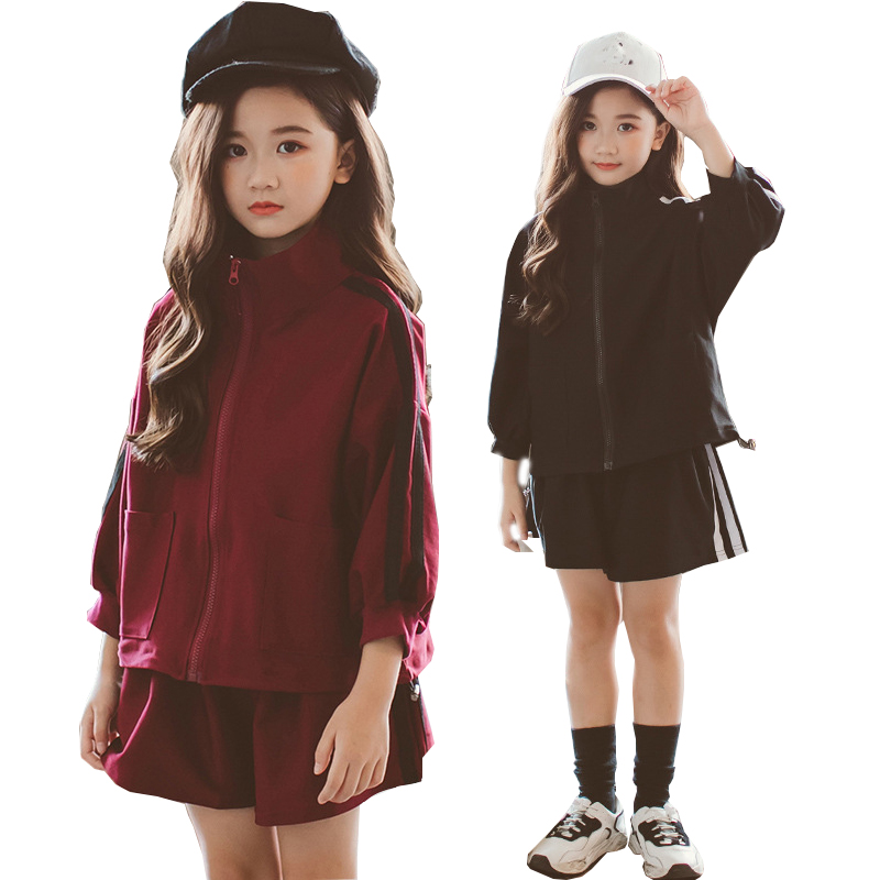 Children girls clothing set autumn teenage girls outfit jacket short pants suit school kids clothes tracksuit for girls clothes spring autumn vestidos tracksuit girls sports suit kids fashion hooded sportwear children track suit clothes set casual outfit