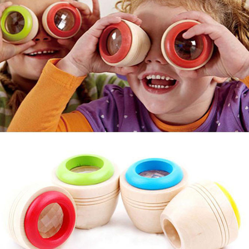 1pc Wood Bee-eye Interesting Effect Magic Kaleidoscope Explore Baby Kids Learning Educational Puzzle Toy For Children
