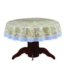 PVC Pastoral mesa redonda paño Oilproof impermeable no de lavado de plástico almohadilla de terciopelo anti caliente café mantel 137 cm No7