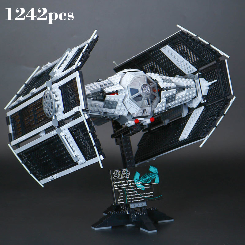 Legoinglys Star Space Wars Series The Rogue One USC Vader TIE Advanced 05055 1242PCS Building Blocks Bricks 10175 Toys Gifts dhl lepin 05055 star series military war the rogue one usc vader tie advanced fighter compatible 10175 building bricks block toy