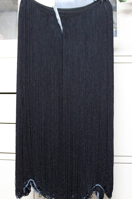 YACKALASI 3 Yards Long Fringe Tassel 60cm White And Black Dip Dye Ombre Lace Latin Dress Fringe Macrame Trims