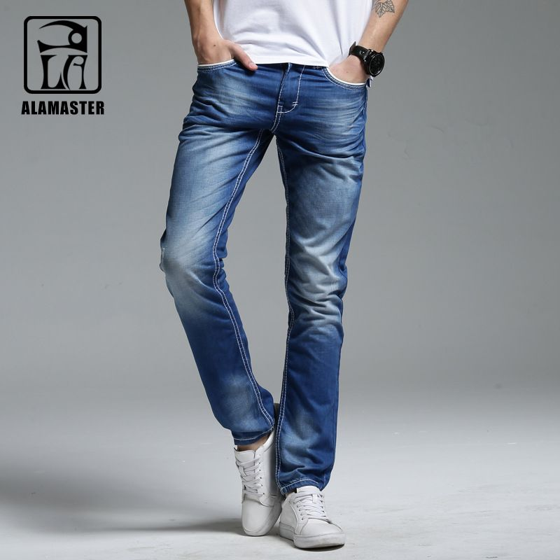 A LA MASTER 2017 Spring Male Denim Pants Thin Light Blue Denim Pants Mens Vintage Washed Straight Slim Jeans 062102 Plus size