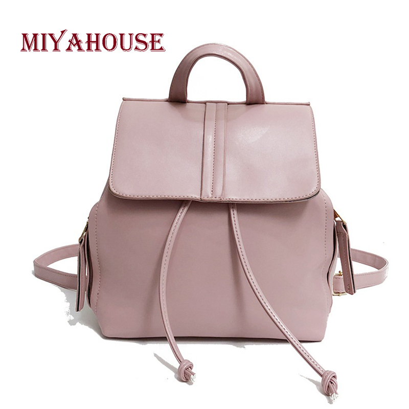 Miyahouse Vintage Style Women Small Backpack Candy Color Leisure Travel Bag For Female Soft Pu Leather Girl Shoulder School Bag