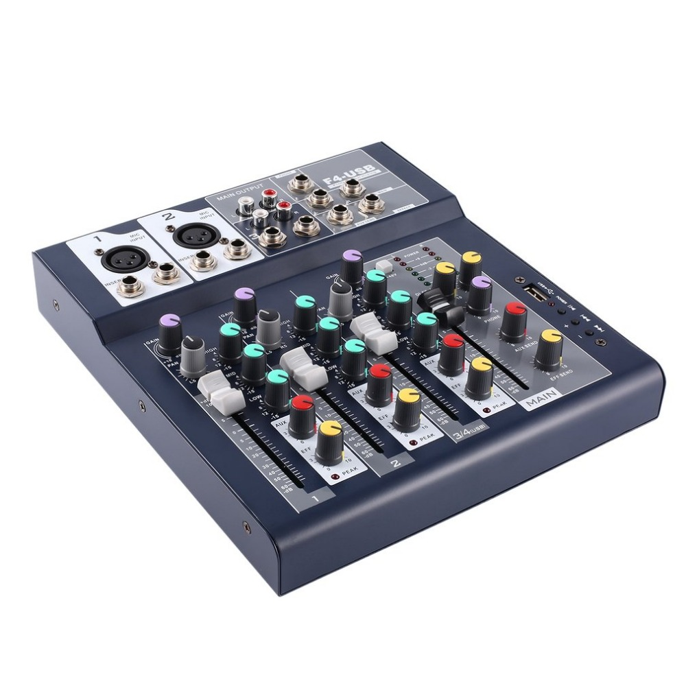 F 4 4 Channel Professional Live Mixing Studio Audio Sound Console Network Anchor Portable Mixing Device Vocal Effect Processor