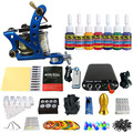 Solong Tattoo Nueva Principiante Kit de Tatuaje 1 Pro Machine Gun tip 7 colores juego de tintas de Alimentación Aguja Grips TK105-74