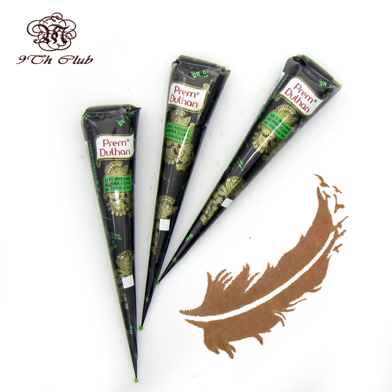 Henna Tattoo Paste Cost: 3pcs New Henna Tattoo Paste 100% Natural Brown Cones