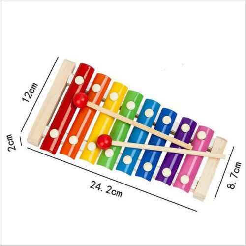 8 scale Arcobaleno Colorato Xilofono Strumenti Musicali Per Bambini Set Sveglio Del Capretto Del Bambino Educativo Dello Sviluppo Giocattoli di Legno Regalo