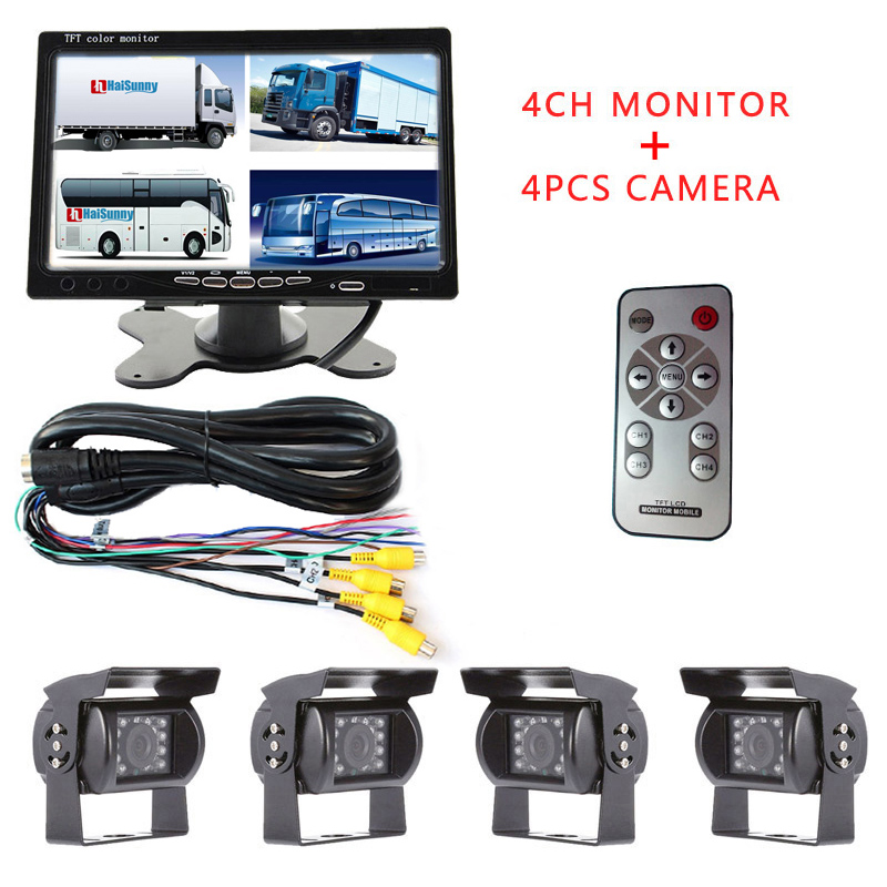 Promotion! DC 12V/24V 7 LCD 4CH Video input Car Video Monitor With 4 Pcs Rear View Camera 6 Mode Display For Truck Caravan Vans diysecur 4pin dc12v 24v 7 inch 4 split quad lcd screen display rear view video security monitor for car truck bus cctv camera