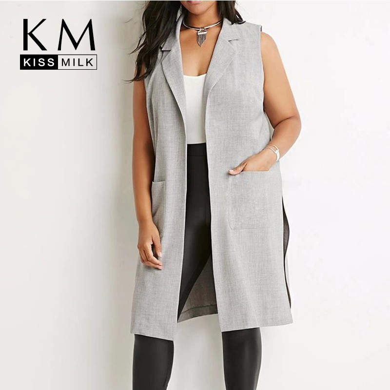 plus size western style fashion solid color sleeveless 3XL-6XL gray large  size open stitch woman s Casual long Vests ade435da7f0f