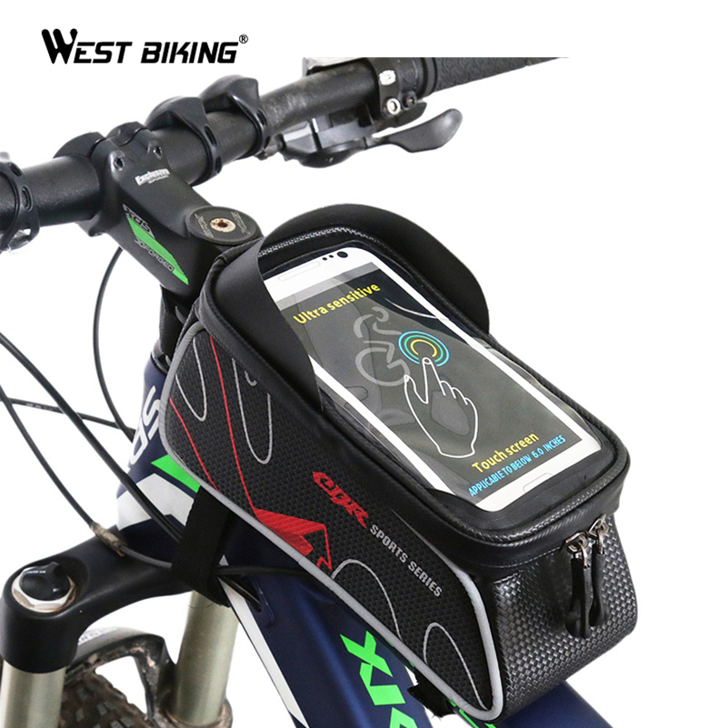 WEST BIKING Bicycle Bag MTB Bike Front Frame Top Tube Bag Accessories Waterproof Anti Skid for 6 inch Phone Cycling Bicycle Bags 2017 bicycle camera bag bike front tube bag bicycle accessories black road mountain large capacity cycle bike backpack bike bag
