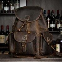 Crazy Horse кожа Для мужчин рюкзак из натуральной кожи Винтаж путешествия Повседневное школы Бизнес книга сумки бренда мужской сумки для ноутбу