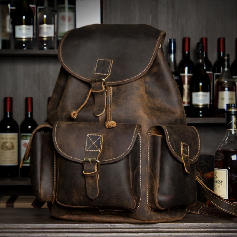 Crazy Horse Cowhide Men Backpack Genuine Leather Vintage Travel Casual School Business Book Bags Brand Male Laptop Bags Rucksack crazy horse cowhide men backpack genuine leather vintage daypack travel casual school book bags brand male laptop bags rucksack