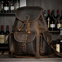 Crazy Horse Cowhide Men Backpack Genuine Leather Vintage Travel Casual School Business Book Bags Brand Male Laptop Bags Rucksack