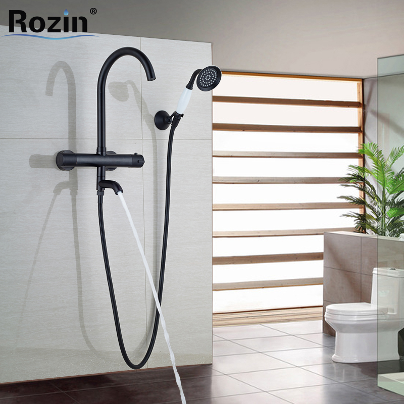 Oil Rubbed Bronze Bathroom Thermostatic Valve Bath Tub Sink Faucet Rotation Bathtub Filler White Handshower with Holder