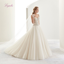 Liyuke Lace Strapless A Line Wedding Dress Metal Beads