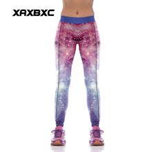 NEW 1035 Fashion Sexy Girl Women Dream Galaxy Line Star violet 3D Prints High Waist Workout Fitness Leggings Pants