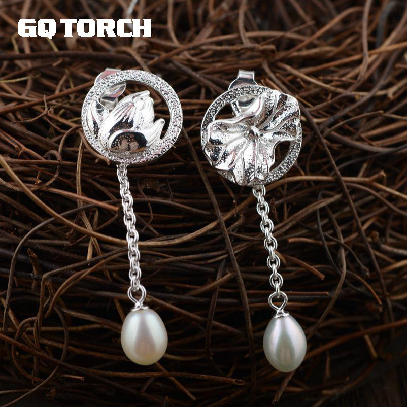 GQTORCH 925 Sterling Silver Lotus Carving Drop Earrings Long For Women With Natural Freshwater Pearl Fine Jewelry цена