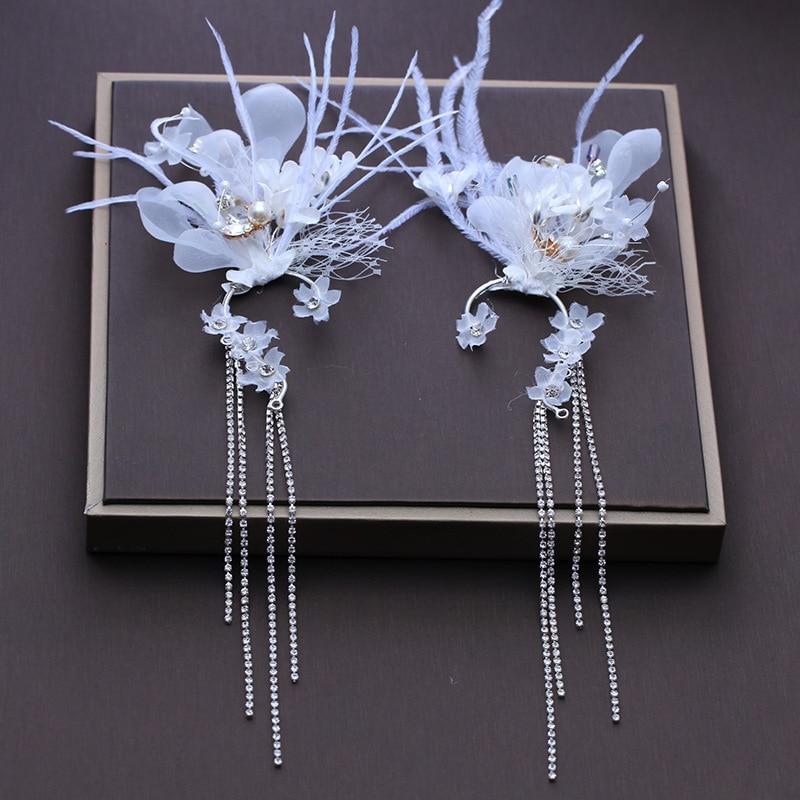 fairy gauze feather tassel earrings hang headdress bride hair flower wedding hair jewelry
