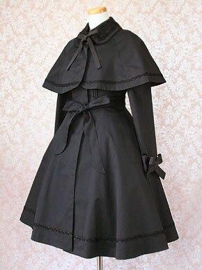 Черный Двух Частей Лолита Пальто Ретро Стиль леди Длинное Пальто с Мыса