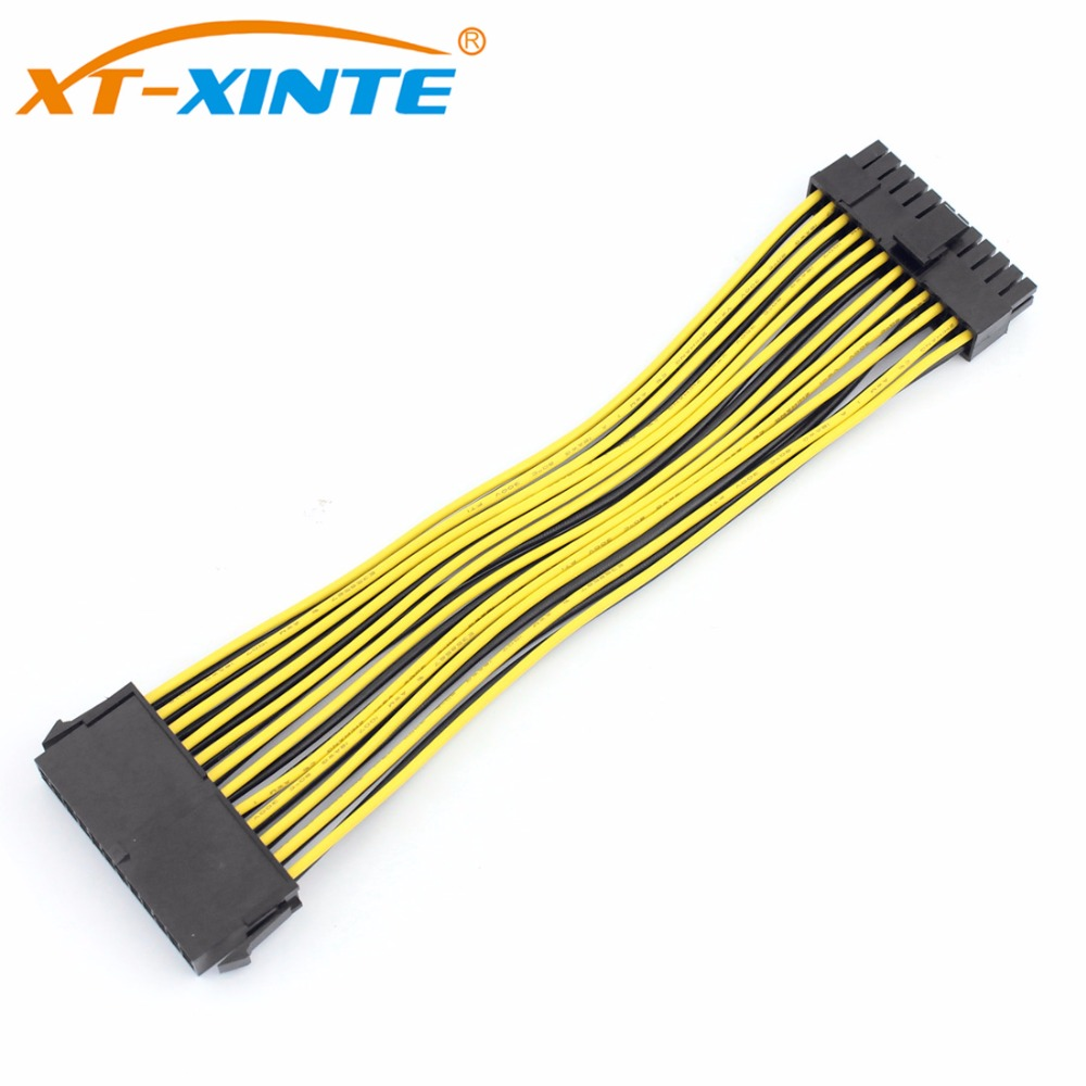 цена на 20cm 24Pin Power Supply Cable 20+4Pin Motherboard Adapter Extension Cables Cord Extended Line 18AWG for BTC RIG Miner Mining