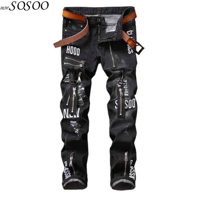 Brand black   jeans   men ripped biker   jeans   European and American style high quality men pants   jeans   #17008
