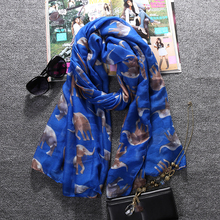 YOCCAS Wholesale Factory Price Women Scarf Brand New Voile Scarfs Classic Floral Elephant Pattern Long Scarves Summer Big Shawl