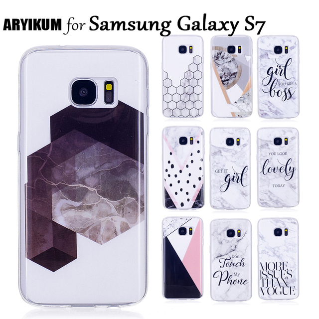 ARYIKUM Marble Cases For Samsung Galaxy S7 S 7 SM-G930F G930F Case SmartPhone Accessories Cover For Samsung S7 Sansung S7 Fundas
