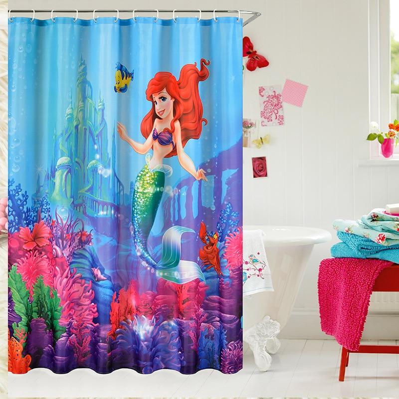 1pc Shower Curtain Little Mermaid Fairy Pattern Bathroom