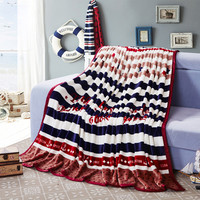 Tanke Super Soft Blushed Fleece Blanket Bedding Sofa Couch Striped And Stars Printed Full Queen King