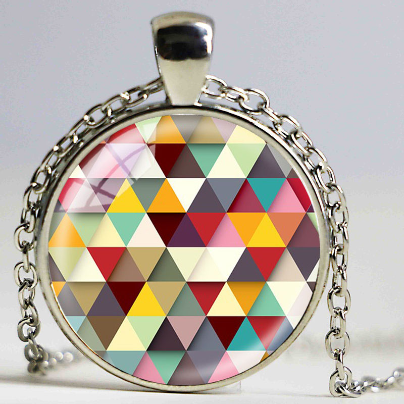 Newest Creative Geometric Mosaic Necklaces Glass Cabochon Pendants Brand Jewelry For Women Men Best Friend Ship Gift