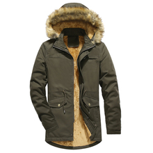 Loldeal Mens Winter Thicken Cotton Jacket with Fur Hood Medium long mens washed cotton coat